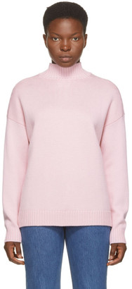Ganni Pink Wool Pullover Turtleneck