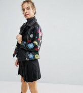 Asos Floral Embroidered Leather Biker Jacket