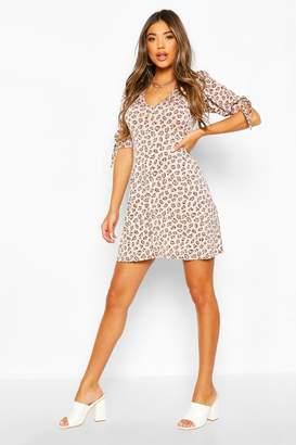 boohoo Leopard Print Tie Detail Skater Dress