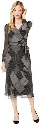 Lauren Ralph Lauren Franny Long Sleeve Day Dress (Black/Grey/Multi) Women's Clothing
