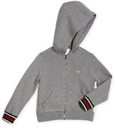 Gucci Hooded Zip-Front Sweatshirt, Gray, Size 4-12