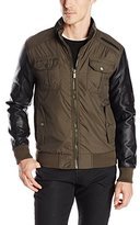 X-Ray Men's Slim Fit Nylon Jacket with Faux Leather Sleeves