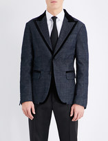 DSQUARED2 Regular-fit velvet-trim denim jacket