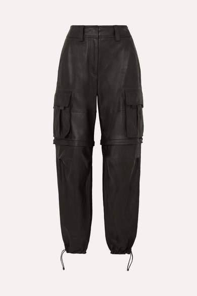 Alexander Wang Convertible Leather Cargo Pants - Black