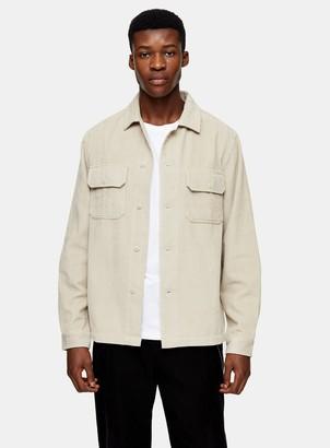 TopmanTopman Ecru Corduroy Two Pocket Overshirt