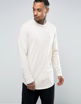 Asos Super Longline Long Sleeve T-Shirt With Logo And Curve Hem