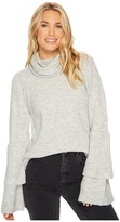 Kensie Warm Touch Sweater with Cowl Neck and Layered Ruffle Sleeve KS0K57S5 Women's Sweater