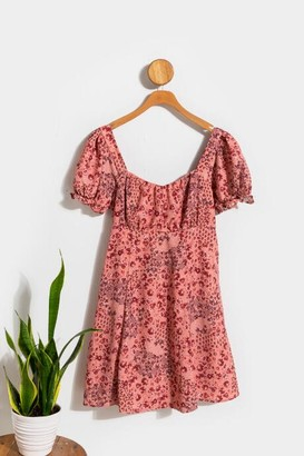francesca's Cindy Puff Sleeve Floral Babydoll Dress - Pink