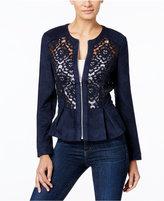 INC International Concepts Petite Lace-Trim Faux-Suede Jacket, Only at Macy's