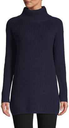 Lord & Taylor Petite Eyelet-Sleeve Turtleneck Sweater