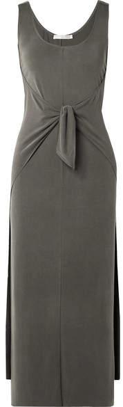 Vince Tie-front Modal-blend Jersey Midi Dress - Green