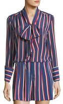 Alice + Olivia Arie Tie-Cuffs Striped Silk Long-Sleeve Top