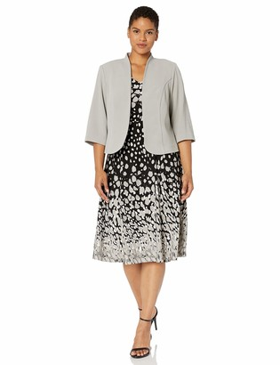 Maya Brooke Women's Plus Size Gradient Polka DOT Flare Jacket Dress