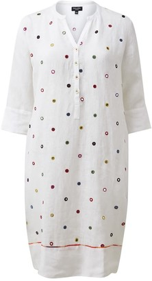 Nologo Chic Mirror Embroidered Tunic Dress - White