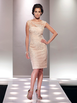 Social Occasions by Mon Cheri Social Occasions - Ruched Embellished Illusion Bateau Neck Dress 114825