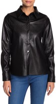 Line & Dot Stowe Leather Button Down Top