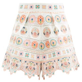 Zimmermann Brighton Embroidered Cotton Shorts - Orange Print