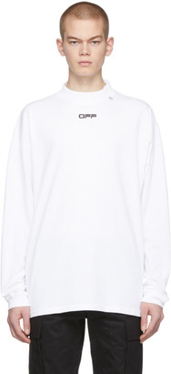 Off-White White Wavy Line Logo Long Sleeve T-Shirt