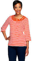 Quacker Factory Striped Rhinestone GrommetT-shirt