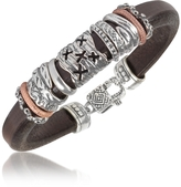 Forzieri Tedora Silver Band Leather Bracelet