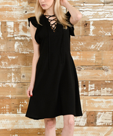 Bellino Black Lace-Up Ruffle Cap-Sleeve Dress