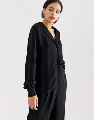 Minimum stripe shirt-Black