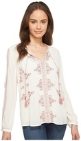 Lucky Brand Vintage Embroidered Peasant Top Women's Long Sleeve Pullover