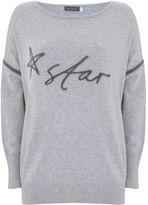Mint Velvet Silver Grey Handwritten Star Knit