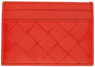 Bottega Veneta Red Intrecciato Classic Card Holder