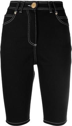 Balmain Contrast-Stitch Knee-Length Shorts
