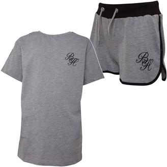 Beck And Hersey Girls Macy Short And T-Shirt Set Grey Marl