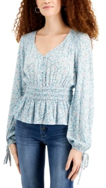 Planet Gold Juniors' Printed Peplum Peasant Top