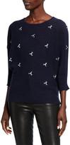 Neiman Marcus Crewneck 3/4-Sleeve Cashmere Sweater w/ Embellished Front