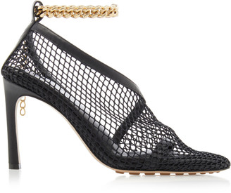 Bottega Veneta Embellished Mesh and Leather Pumps