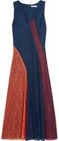 Tory Burch Iliana Paneled Lace Midi Dress - Navy