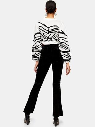 Topshop Velvet Flare Trousers - Black