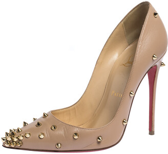 Christian Louboutin Beige Spike Embellished Leather Degraspike Pointed Toe Pumps Size 37.5