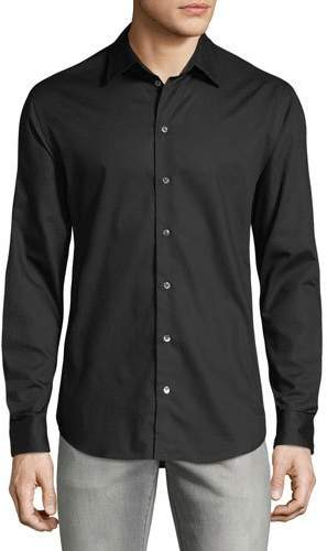Emporio Armani Men's Micro-Woven Casual Button-Down Shirt