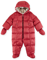 Burberry Skylar Quilted Down Snowsuit, Peony Rose, Size 3-18 Months