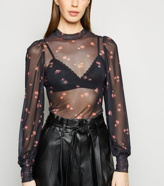 New Look Rose Mesh Puff Sleeve Top