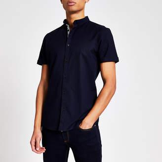 River Island Maison Riviera navy slim fit Oxford shirt