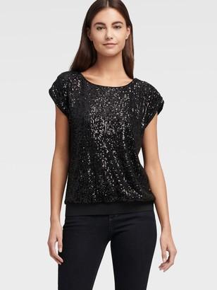 DKNY Women's Cap Sleeve Sequin Top - Black - Size XX-Small