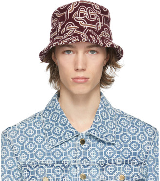 Casablanca Burgundy Wool Monogram Bucket Hat