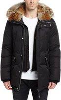 Mackage Lux Hooded Jacket w/Coyote & Rabbit Fur Trim, Black