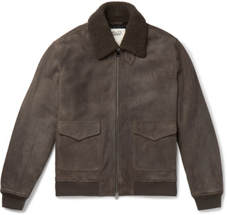 Valstar Slim-Fit Suede Bomber Jacket
