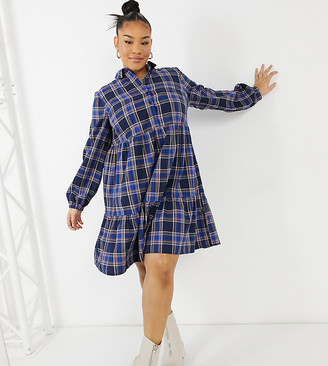 New Look Plus New Look Curve button front check smock mini dress in blue pattern