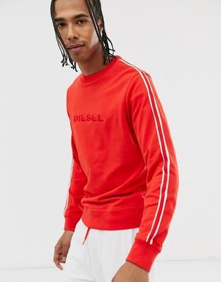 Diesel Umlt-Willie taped sleeve logo sweatshirt in red