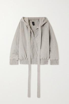 Norma Kamali Padded Melange Stretch Cotton-jersey Hoodie - Gray