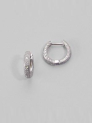 "Zasha 14K White Gold & Pave Diamond Hoop Earrings/½"""