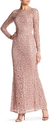 Marina Long Sleeve Sequin Lace Gown